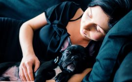 Un chien et sa maitresse endormis